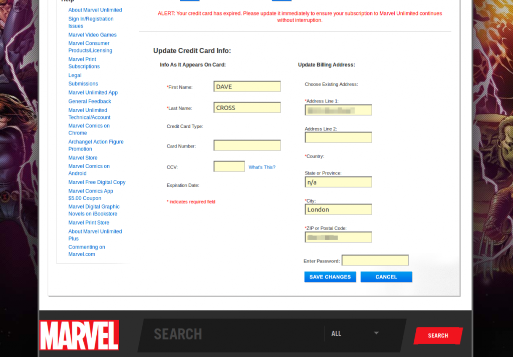 Marvel Credit Card Maintenance Page