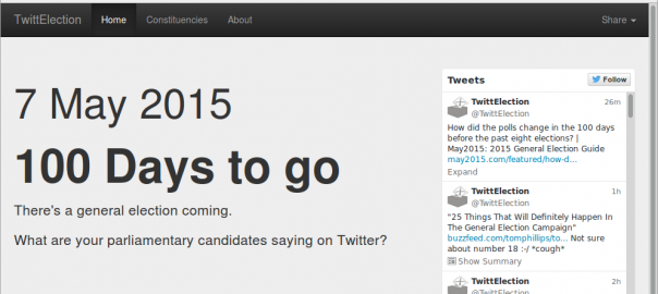 Front page of the TwittElection web site